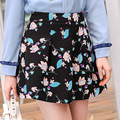 2017 Europe women spring new fold slim A-line A woven floral skirt 28069