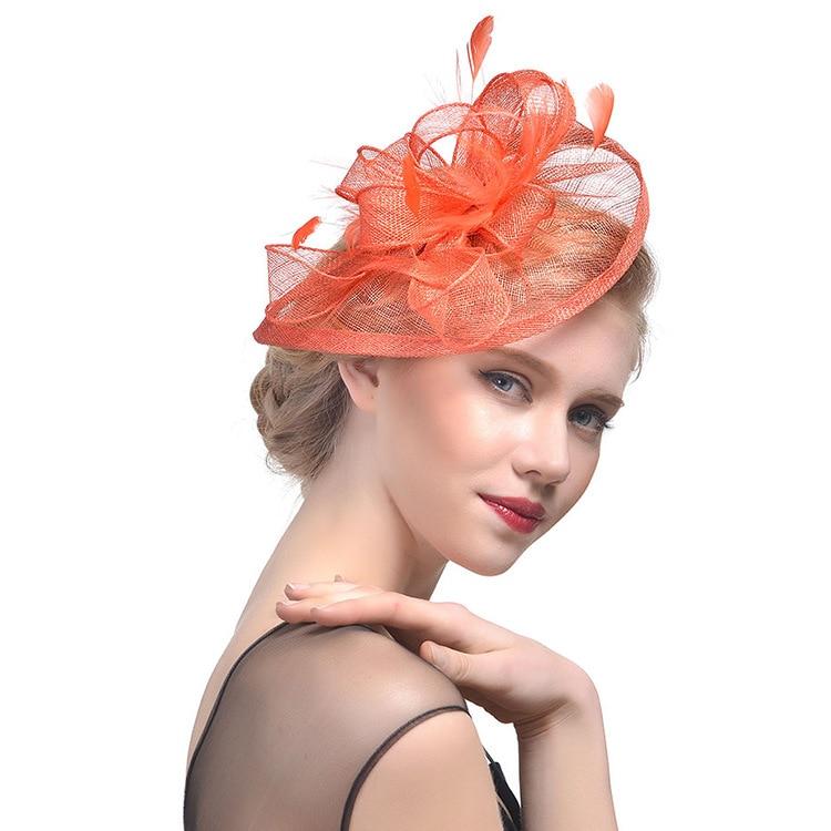 Navy Blue Black Birdcage Net Wedding Hats Bridal Fascinator Hair Decoration Banquet Personal Portrait Feather Headdress headpiece