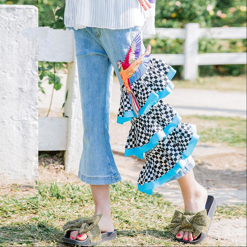High-end Childrens Nenim Pants Baby Girl Clothes Ruffles Spliced Animal Print Jeans Flare Pants High Waist Casual Pants Y459High-end Childrens Nenim Pants Baby Girl Clothes Ruffles Spliced Animal Print Jeans Flare Pants High Waist Casual Pants Y459