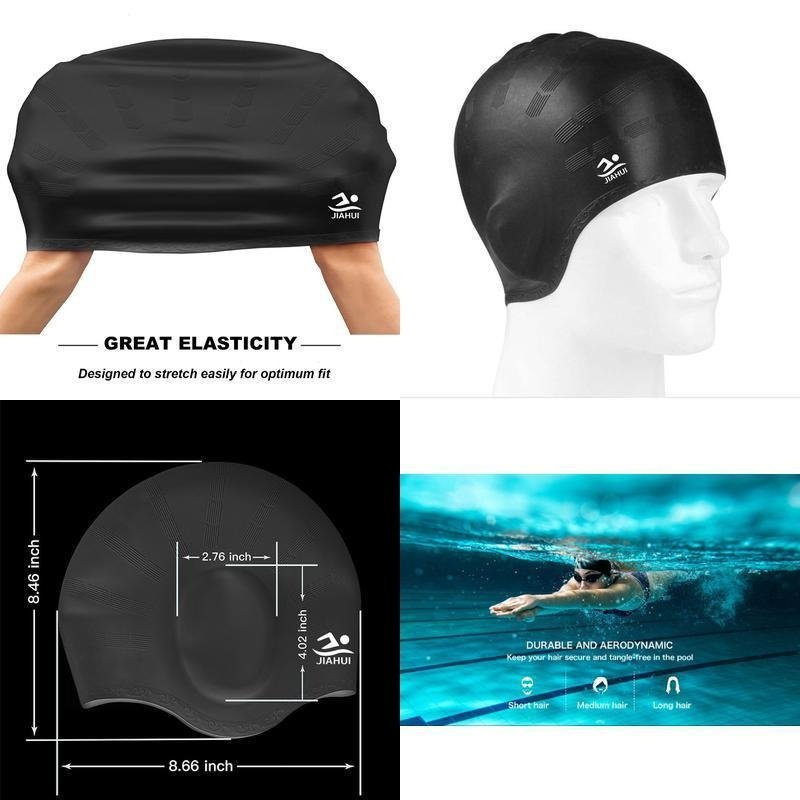 Outdoor Sports Swimming Cap Elastic Waterproof Long Hair Cover Ears Protect Anti-slip Swim Pool Hat for Bonnet De Bain Femme