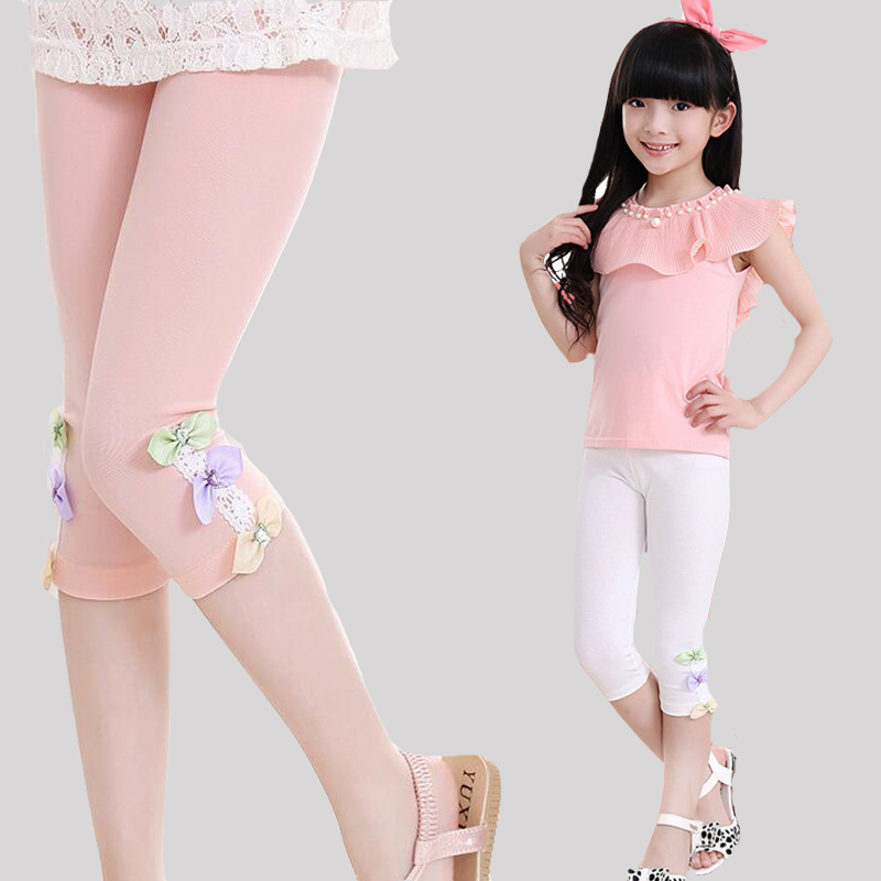 Kids Leggings For Girls Children Clothing Cotton Flower Pants Girls Skinny Trousers 3 4 5 6 7 8 9 11 12 Years Summer Dance Wear цена 2017