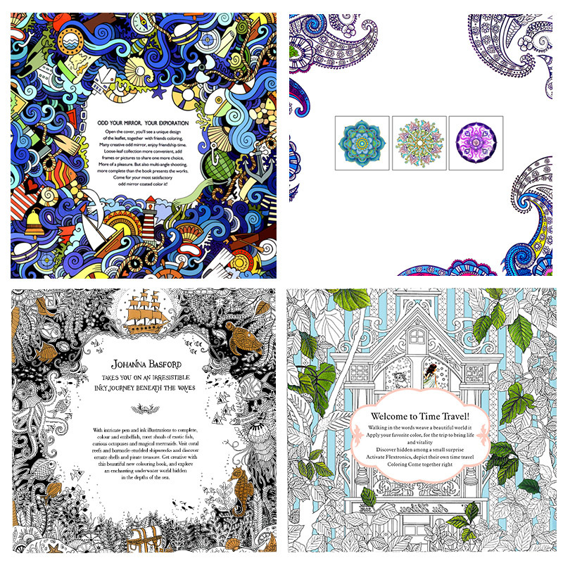 4 Pcs/lot 24 Pages Mandalas Flower Coloring Book For Children Adult Relieve Stress Kill Time Graffiti Painting Drawing Art Books