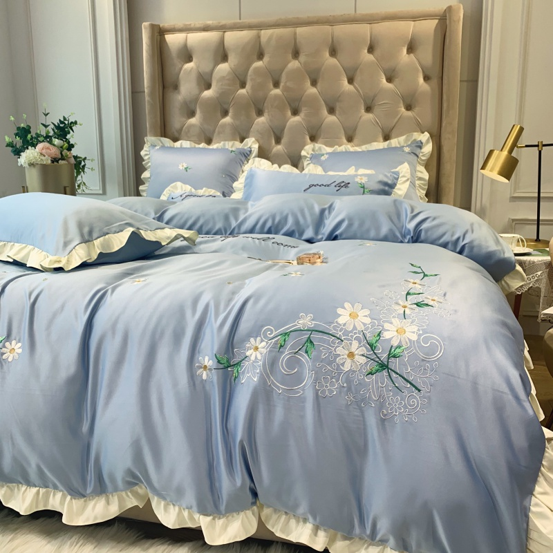 Blue Pink Yellow Green Luxury Washed Silk Cotton Flowers Embroidery Princess Girl Bedding Set Duvet Cover Bed sheet Pillowcases - 4