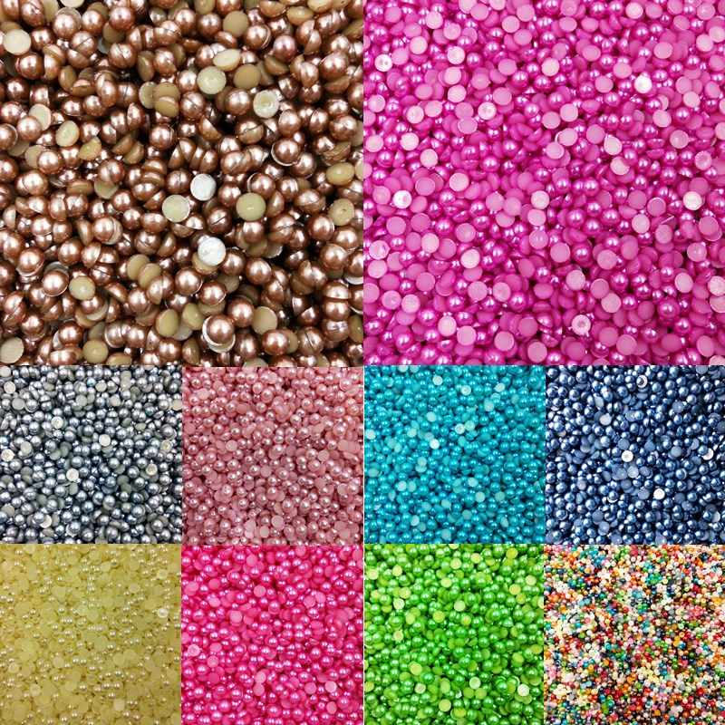 LNRRABC Sale 3/4/5/6/8/10mm Multicolor Chic Acrylic Beads Half Round For Nail Home Phone Decoration Jewelry Making Supplies