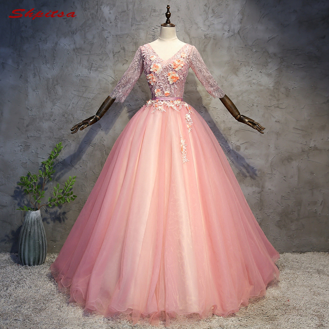 12ce1fd302f5 Pink Ball Gown Lace Quinceanera Dresses Long Sleeve 15 Sweet 16 Puffy Navy  Blue Quinceanera Gown Prom Dresses for 15 Years