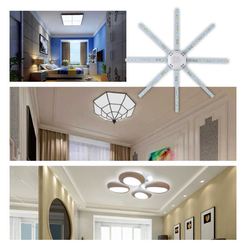 LED Lampu Langit-langit Gurita Light 12W 16W 20W 24W LED Light Board 220V 5730SMD Energi hemat Harapan Lampu LED Dingin Hangat Putih