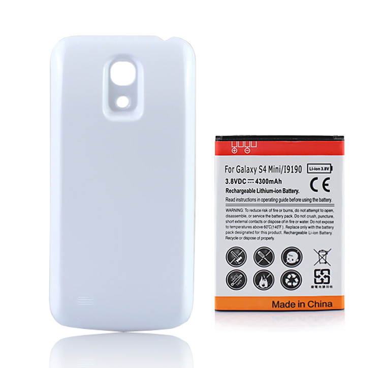 4300mAh For <font><b>Samsung</b></font> Galaxy S4 SIV mini i9190 <font><b>Cell</b></font> <font><b>Phone</b></font> Rechargeable Replacement <font><b>Battery</b></font> Li-ion Bateria + White Back Case Cover