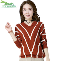 KULAZOPPER Sweater Women Spring Autumn England Style Pure Cashmere Wool V Neck Striped Knitted Loose Sweaters
