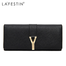 LA FESTIN Solid Pattern Genuine Leather Women Wallets Leather Long Purse Luxury Brand Women Wallet Leather Ladies Coin Purse