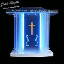 GUIHEYUN Grand акриловая церковная подиумная плексиглас Pulpit Priest Lectern с светодиодный подсветкой