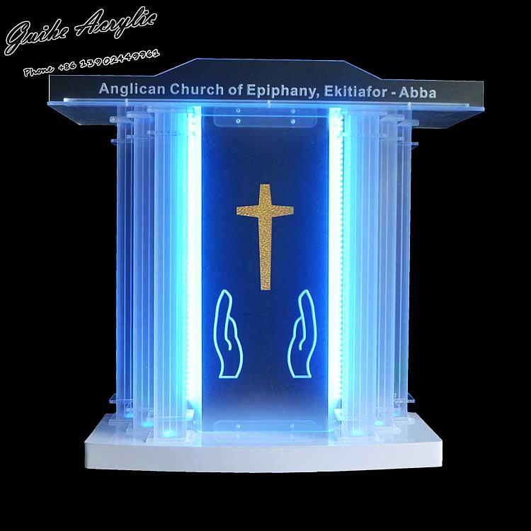 GUIHEYUN Grand Acrylic Church Podium Plexiglass Pulpit Priest Lectern With LED Lights