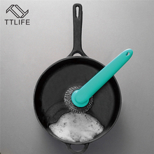 TTLIFE  2 color Kitchen Dishwashing Brush Long Handle Steel Ball Pot Clean Wire Wash Home Tools