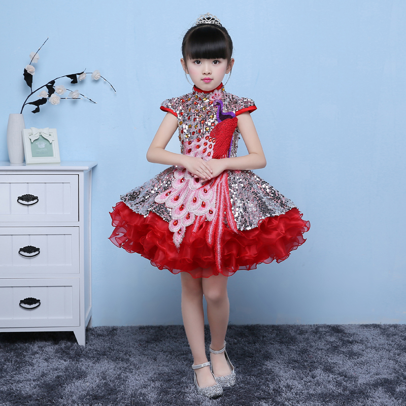 Girl Princess Peacock Overlength Trailing Dress Traditional Qipao Cheongsam Sequins Embroidery Baby Chinese New Year Clothes