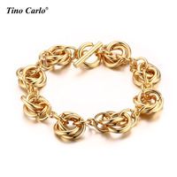 Classic Link Knot Bracelet Bangle For Women Gold Color Fashion Party Jewelry With Toggle Clasp Gifts