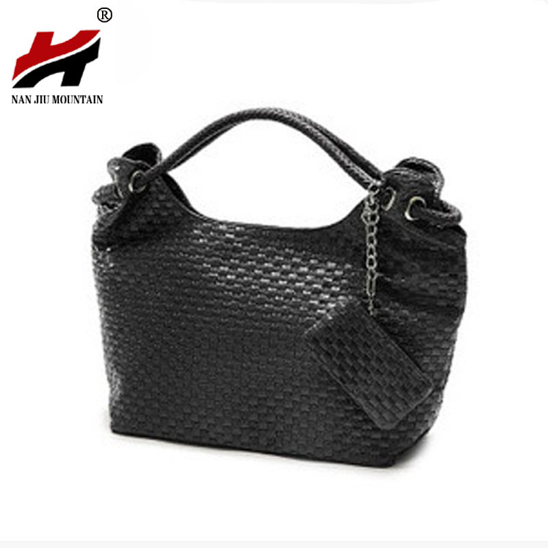 Casual Women Handbag and Purse Shoulder Bags Hobos Weave Leather Bag Female Bolas Tote Beige Black