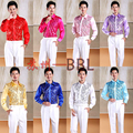 2015 Men Stage Performance Dance Host Sequins Shirts Male Long Sleeve Bling Shirts Costumes Singer Show Gold Shirts D202