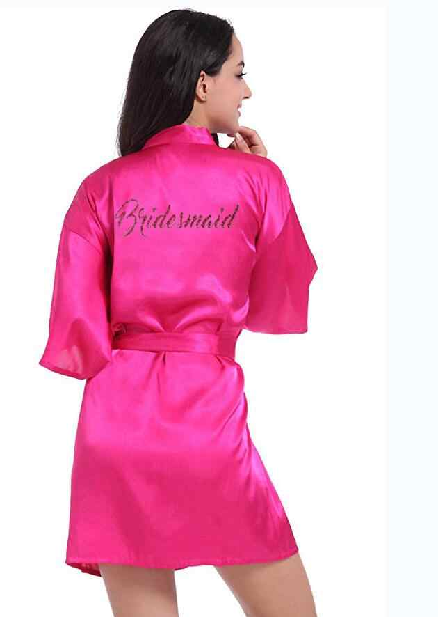 2019 Panas Wanita Musim Panas Seksi Satin Sutra Jubah Gaun Pernikahan Bride Kimono Pakaian Dalam Wanita Bridesmaid Bridal Sutra Jubah Wanita Gaun baru