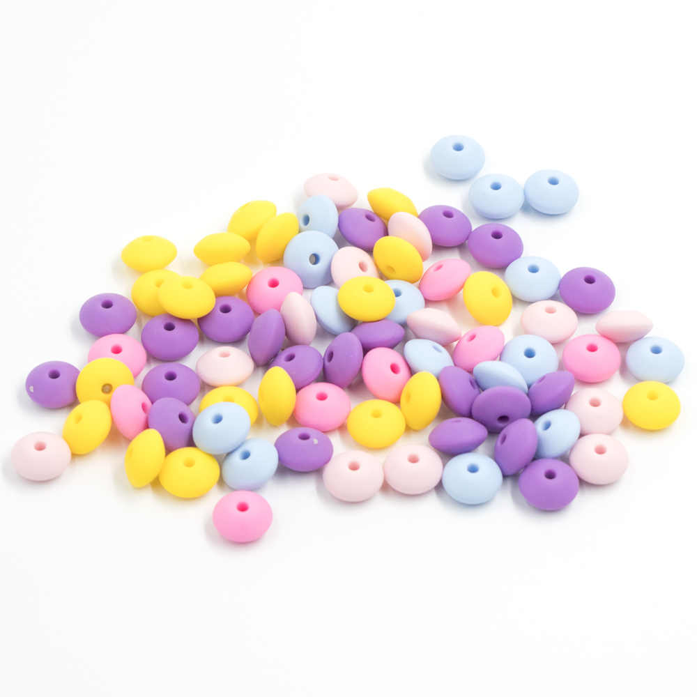 50Pcs Pearl Silicone Beads 12mm Perle Silicone Dentition DIY Bead Food Grade Silicone Abacus Beads Teething Necklace Nursing Toy