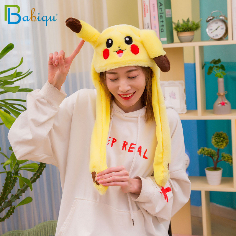 1pc 60cm Funny Pikachu and Rabbit Hat with Ears Moving Plush Toy Stuffed Soft Creative Hat Doll Cute Birthday Gift FOR Kids Girl plush stuffed animals doll soft toy novel gift funny toy cute foxes little prince movie animation birthday