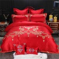 Красного цвета с вышивкой павлина роскошные свадебные постельных принадлежностей король queen Размер Комплект постельного белья пододеяльн