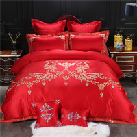 Red Color Peacock Embroidered Luxury Wedding Bedding set King Queen size Bedsheet set Duvet cover Decorative Pillow shams