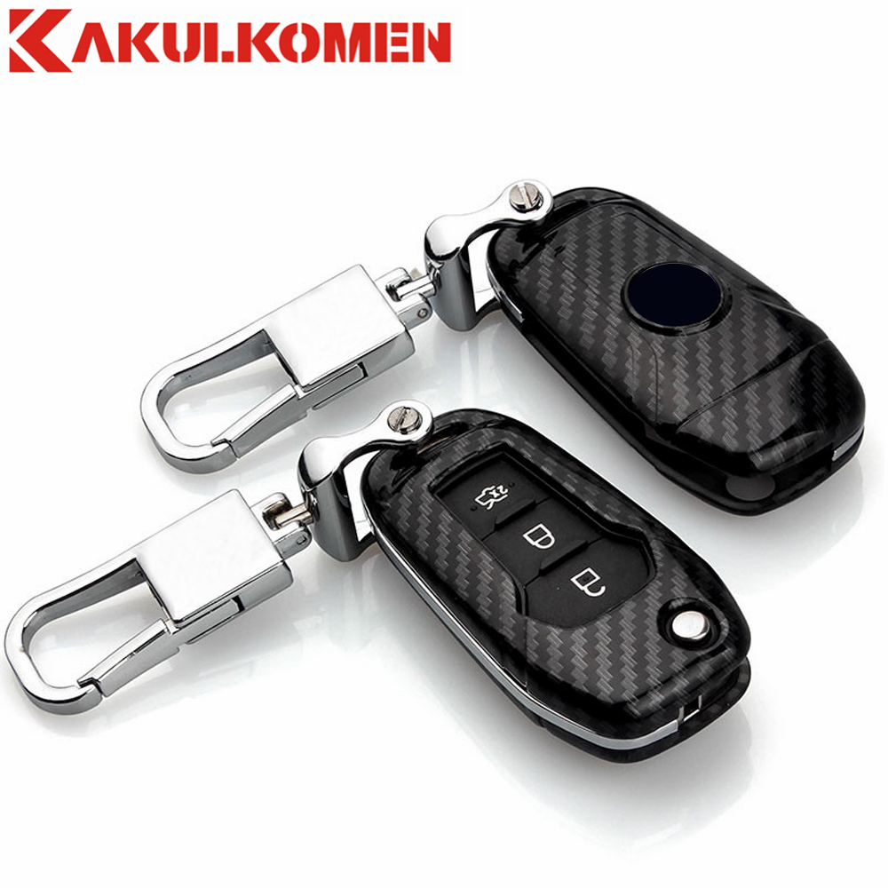 New Carbon fiber craft Folding Car key fob case cover wallet house for Ford Mondeo(1.5T) EVEREST( 2015 2016 2017 ) Escort