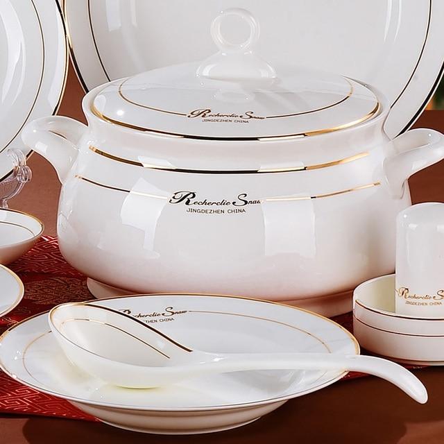 Superbe Dinnerware 56 Pcs Set Kitchen Design Service Cup Plates Dinner Set  Porcelain Dishes Bowls SET Tea