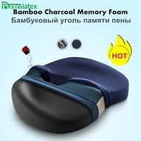 PurenLatex Memory Foam Bamboo Charcoal Office Chair Seat Tailbone Cushion Pad Mat Pillow for Coccyx Comfort Hemorrhoid Treat