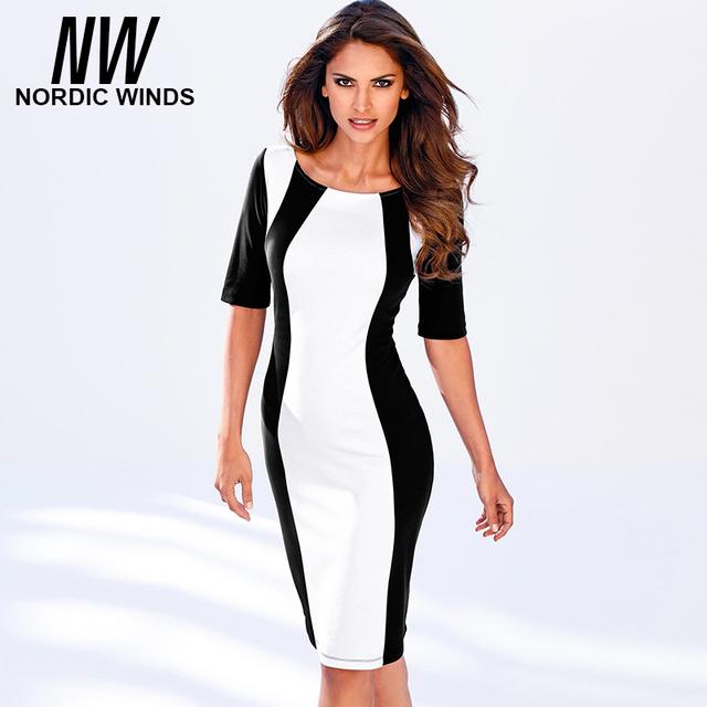 Nordic winds 2016 das mulheres do outono nova moda o-pescoço meia manga black white splice bodycon vestido do vintage carreira dress