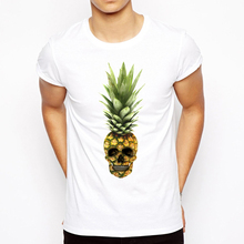 2018 Men's casual comfortable Short Sleeve T Shirts Pineapple Male Tee Shirt Skull Design Printed Clothing T-Shirt