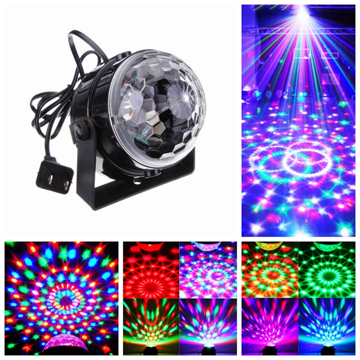 Industrial Light Sound Effect: Voice Control RGB LED Stage Lamps Crystal Magic Ball Sound