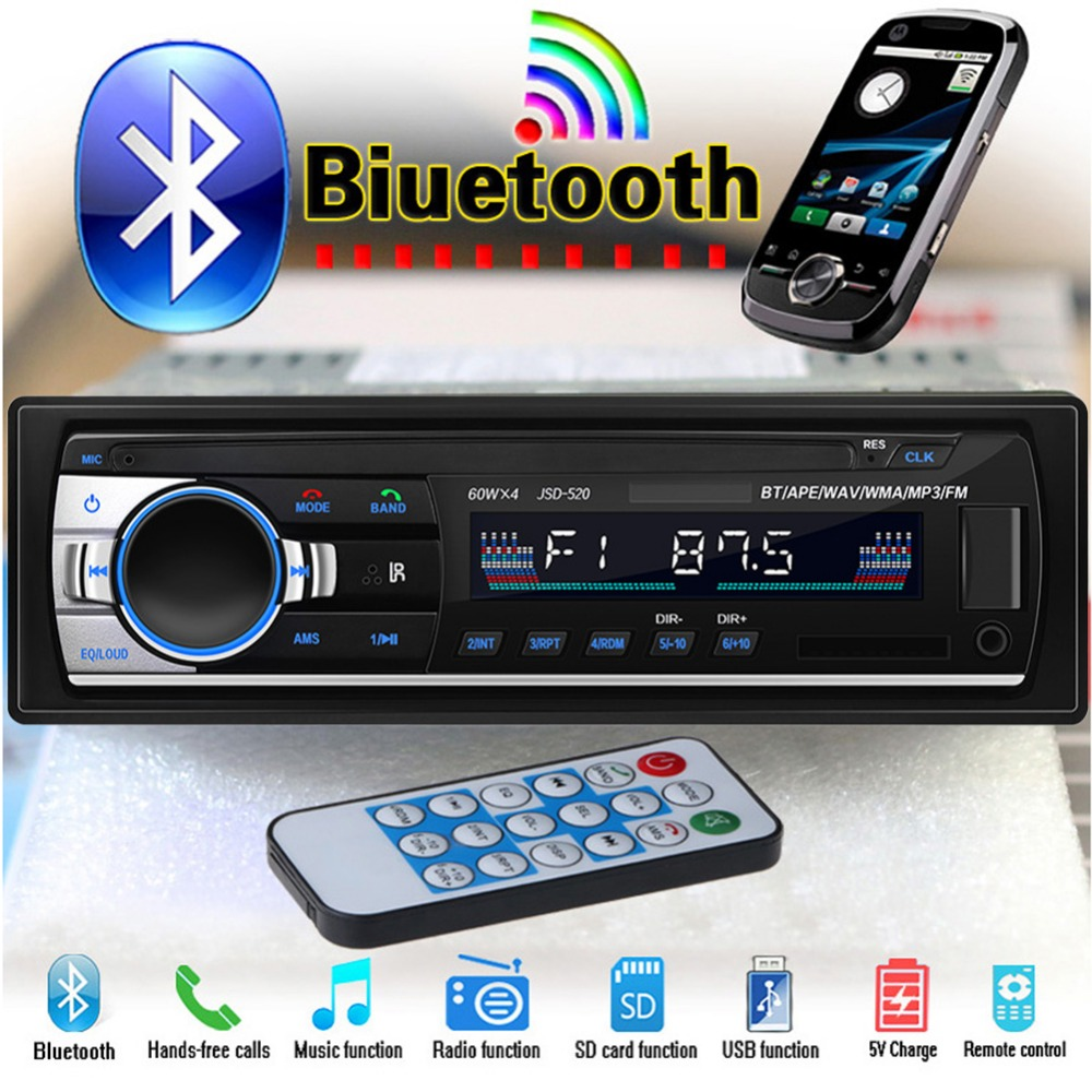 Car Stereo FM Radio Audio Player 12v Bluetooth USB SD Aux Input Receiver Auto In-dash 1 Din Flash Disk Car MP3 Multimedia Player