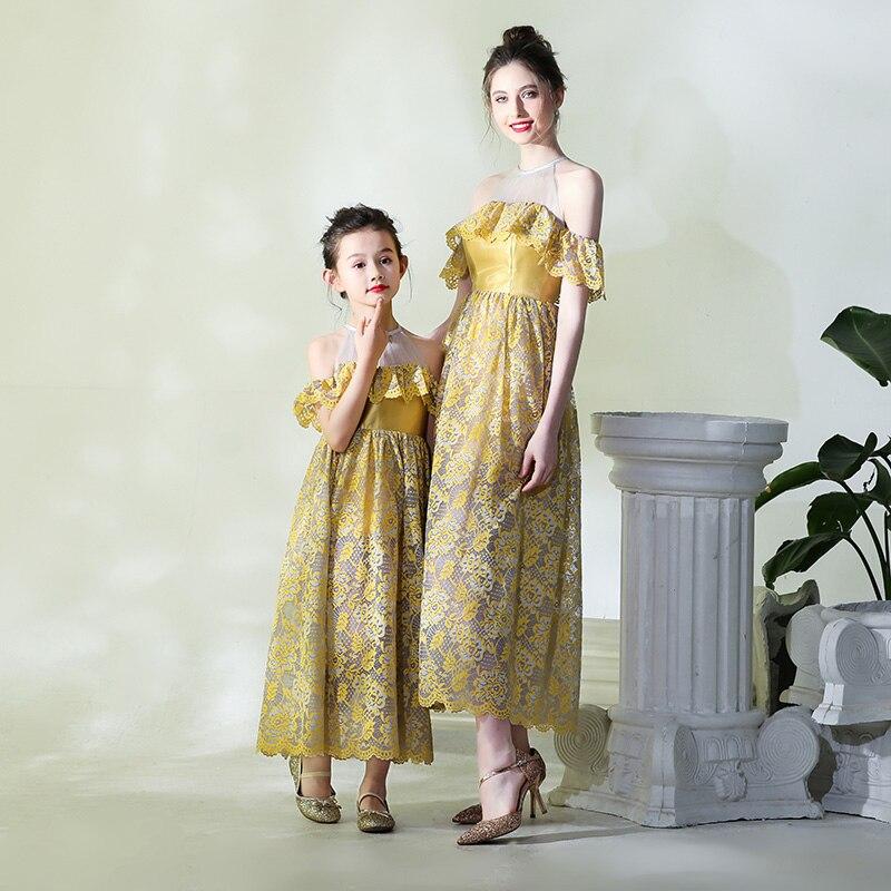 Mère Fille Robes pour Banquet Partie de Soirée Formelle Porter La Famille Des Vêtements Correspondant Princesse Maman et Fille Tenues Sœur - 2