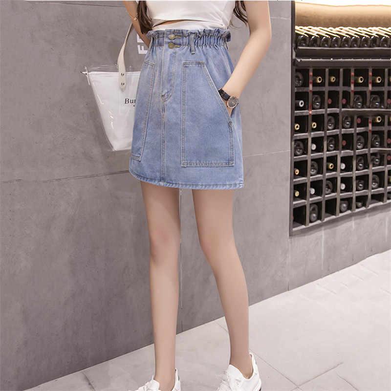 Винтажная джинсовая юбка с высокой талией для женщин, новинка 2019, модная тонкая синяя повседневная Короткая юбка для женщин, летняя однотонная женская юбка TTT126