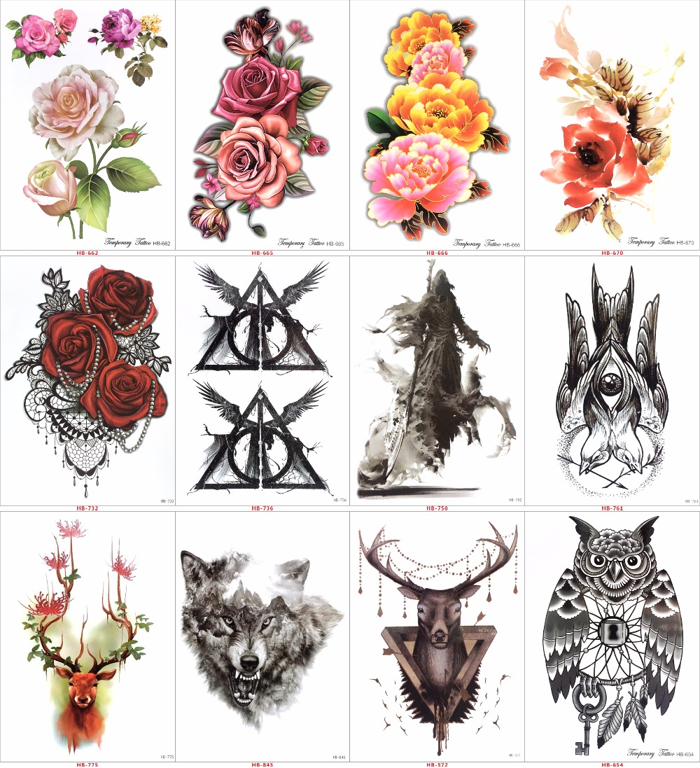 16pcs Temporary Tattoos Health Beauty Coloured Drawing Pattern Tatto Sticker Hb577 Flash Tatoo Metal Gold Tattoo Women Adorn Article Randomly Send