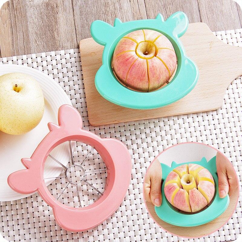 귀여운 스테인레스 스틸 사과 배 슬라이서 과일 야채 도구 주방 액세서리 사랑스러운 동물 패턴 플라스틱 도구 피크닉