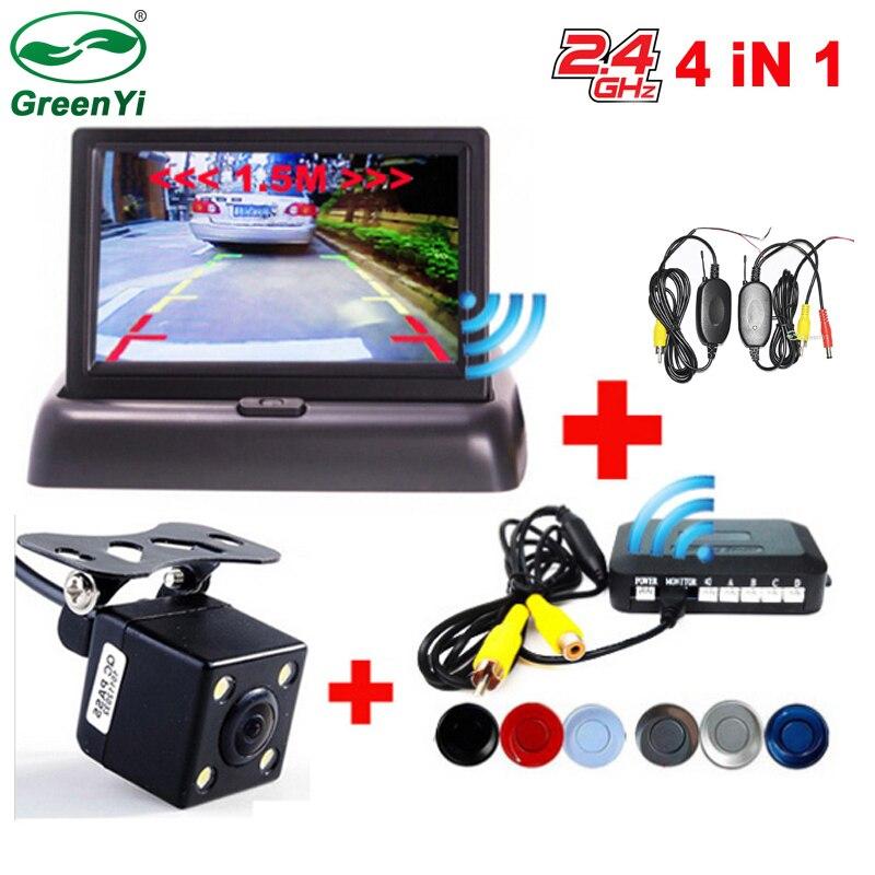 GreenYi автомобиля Беспроводной Парковка монитор видео Системы 4,3 дюймов автомобиль Складная монитор с датчиком парковки и камеры Беспроводной комплект