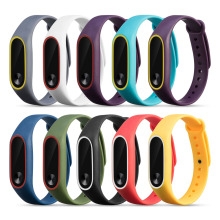 Colorful Silicone Wrist Strap Bracelet For Mi Band 2 Double Color Replacement watchband Smart Band Accessories For Xiaomi mi2