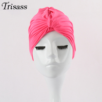 2017 Colorful Swimming Cap Solid Color Pleat Hat Knot funny Caps Swimming Pool One Size Wrapped Head Cloth Swimwear Women Girls