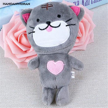 HANDANWEIRAN 1Pcs PP Cotton New Kawaii 14CM Cats Stuffed Toys Keychain Bag Pendants Gift Plush Toy For Kids Party Festive