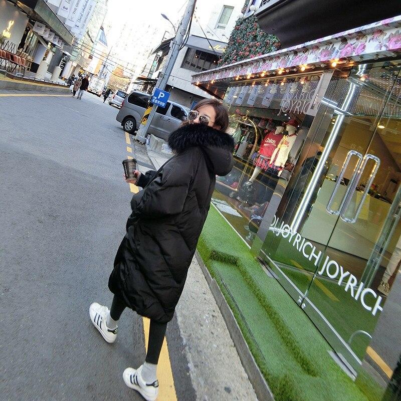 Nouveau Manteau Version Capuchon À grey Longue Section Vers X347 Fourrure Lâche Veste Mode Grand De Le Marée Femmes Hiver 2018 Bas Col Épais Coréenne Black S8vqHw468O