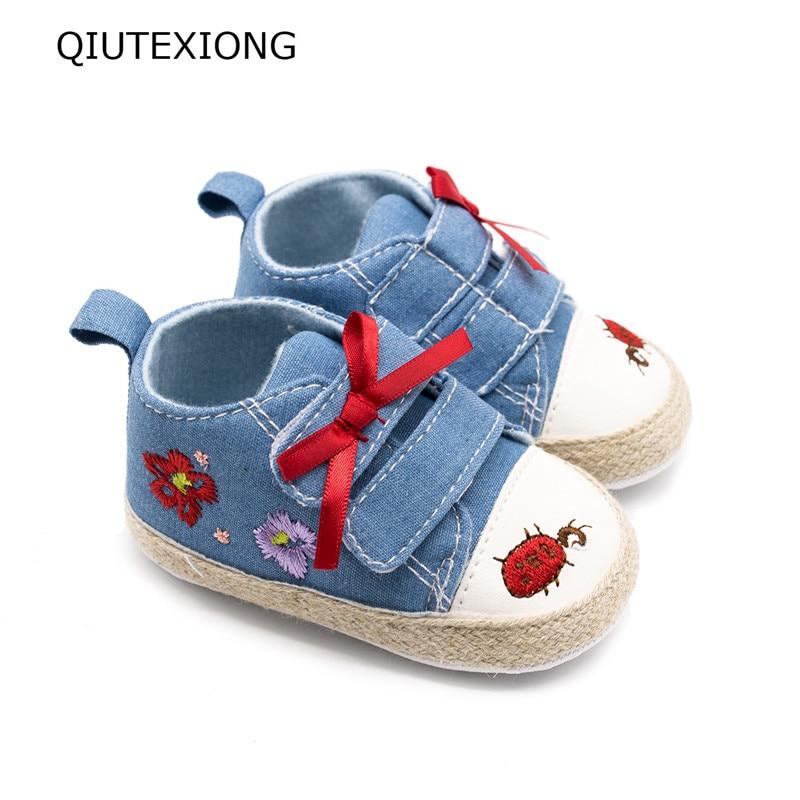 Ковбой детская обувь для малыша первого ходока обувь Prewalker высокое состояние холст Gril обувь 0-18 м
