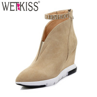 WETKISS Ankle Women Boots Pointed Toe Zip Crystal Wedges Footwear Kid Suede Female Boot High Heels Shoes Woman 2018 Autumn New