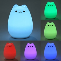 Cute 7 Colors Cat LED USB Children Animal Night Light Silicone Soft Cartoon Baby Nursery Lamp Breathing LED Night Light