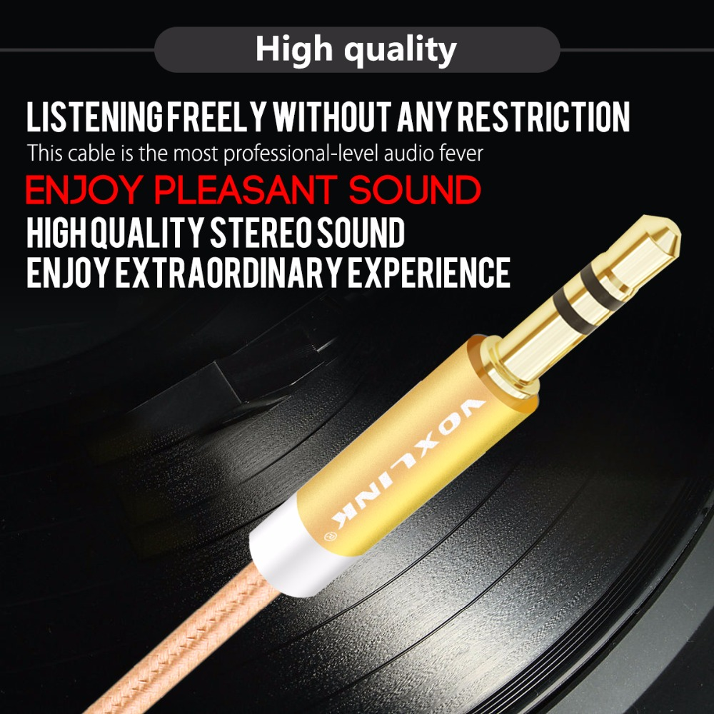 VOXLINK 3 5mm Audio Cable Gold Plated Plug Male to Male Cable Line for iPhone X Samsung Galaxy S8 Car Xiaomi Headphone Speaker