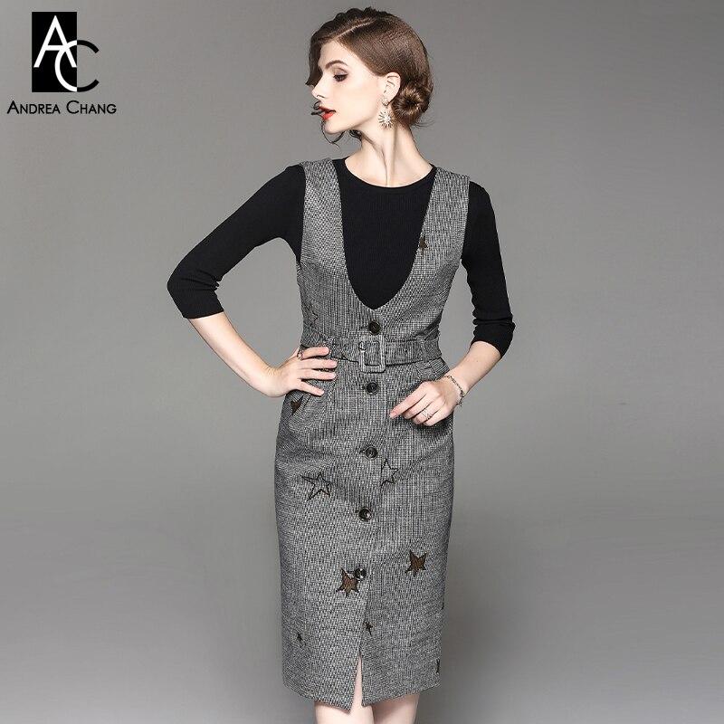 42c333ae1608 € 80.52 |Mujer otoño invierno outfit vestido ajustado negro suéter de punto  superior modelo de estrella negro blanco plaid vestido de la correa ...