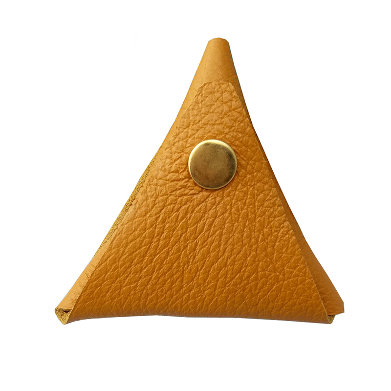 Brand New Fashion Classic Simple Triangle Handmade Coin Purse Hasp Practical Cool Personality Genuine Leather Small Bag