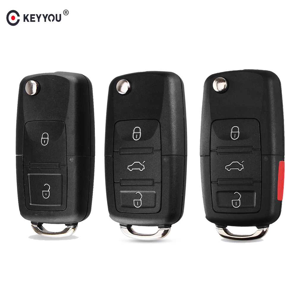 KEYYOU Flip Folding Remote Car Key Shell Case Fob For VW Polo Passat B5 B6 Tiguan Golf 4 5 Seat Skoda HU66 Blade