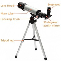 Outdoor Refractive Astronomical Telescope With Portable Tripod HD Monocular Spotting Scope 360 50mm Telescopio New Year