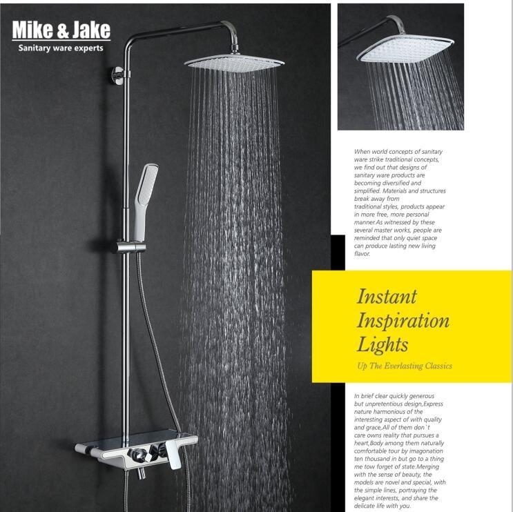 Bathroom three function shower set with white rain shower font b faucet b font mixer set